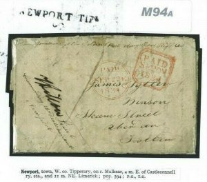 GB IRELAND Cover 1834 SOLDIERS LETTER Kings Royal Rifles NEWPORT Tipperary M94a