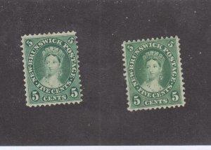 NEW BRUNSWICK # 8,8a F-VF-MNG 5cts 1860 2 VICTORIA /YEL+BLUE GREEN/CENTS CV $ 48