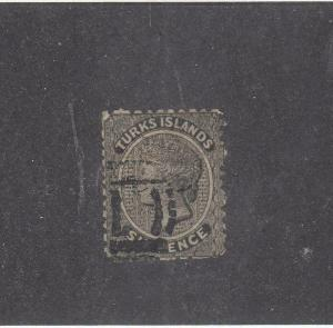 TURKS ISLANDS # 2 QUEEN VICTORIA 6p CAT VALUE $140