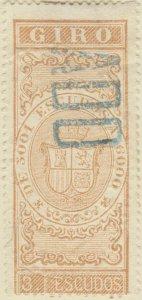 DEPENDENCIAS ESPAÑOLAS - 1868 Sello Fiscal (GIRO) 3 Escudos - usado
