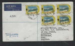 DOMINICA COVER (P1902B) 1970  QEII 10C BL OF 5 REG ATKINSON A/M TO ENGLAND