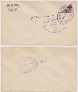 NICARAGUA 1899, AUG 24 TELEGRAPH Barefoot 59 BISECTED ON COVER BLUEFIELDS RARE