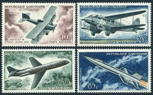 Gabon C7-C10,MNH.Michel 175-178. Breguet 14,Dragon biplane,Caravelle jet,Rocket,