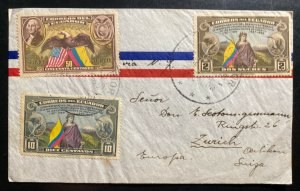 1938 Guayaquil Ecuador Airmail Cover To Zurich Switzerland Constitution Six Cent