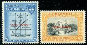 HERRICKSTAMP COLOMBIA Sc.# C289-90 1957 Elusive Overprints Mint NH