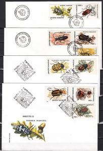 Romania, Scott cat. 4082-4091. Insects issue on 4 First day covers.
