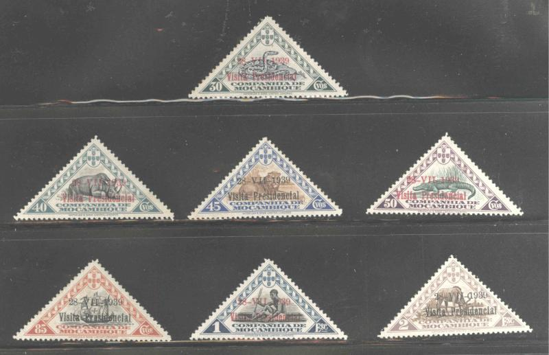 Mozambique  Company Scott 194-200 overprint triangle set MH* CV$14