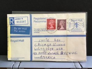 U.K 1987 Registered Letter Air Mail to America stamps cover R31620