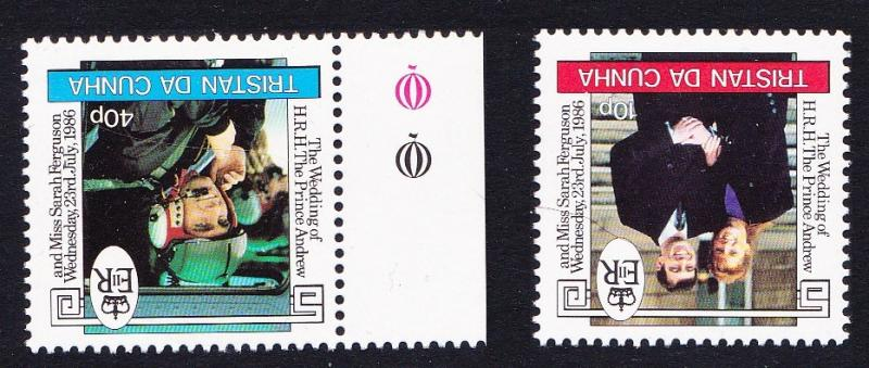 Tristan da Cunha Royal Wedding 2v Watermark varieties SG#415w/416w SC#397-98