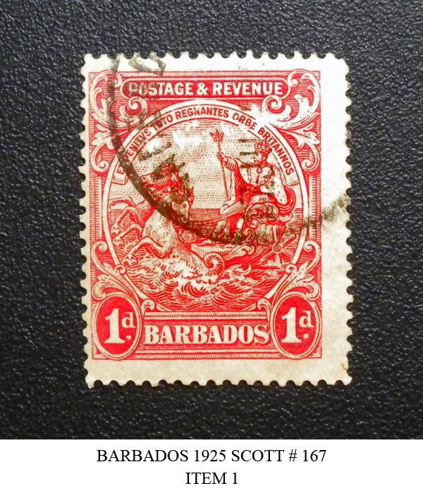 BARBADOS POSTAGE DUE STAMP 1925-35. SCOTT # 167. USED. ITEM 1