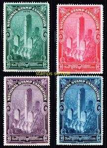 US STAMP # 1934 NATIONAL STAMP EXHIBITION STAMPS SET NEW YORK MNH/OG