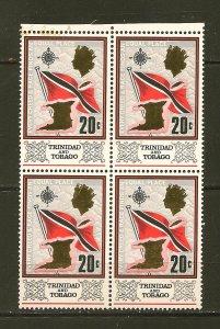 Trinidad and Tobago 152 Flag and Map Block of 4 MNH