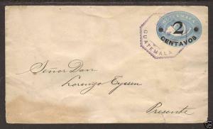 Guatemala H&G B13 used 1898 black 2c surcharge on 5c Envelope