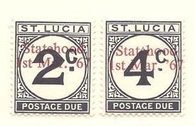 St. Lucia ty J11-J12 overprinted 'Statehood' etc. (NH)