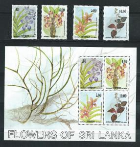 Sri Lanka 722-5a 1984 Flowers set and s.s. MNH