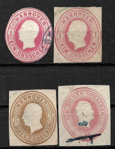 COLLECTION LOT OF 4 GERMAN STATES HANNOVER CUT SQUARE