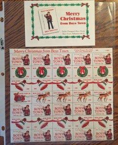 Boy's Town Christmas Seals - Nebraska 1988 sheet MNH
