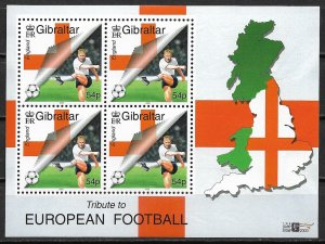 2000 Gibraltar 836a Tribute to European Footbal MNH S/S