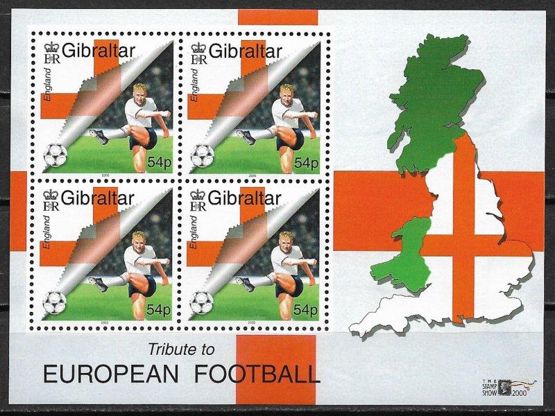 2000 Gibraltar 836a Tribute to European Footbal MNH S/S