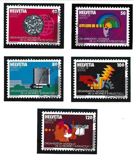 Switzerland for WIPO 11O1-11O5  cancelled    1982