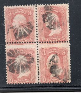 #94 Used Var. Very Thin Paper Bk of 4 Fancy Pinwheel Cancel SCV. $175 (JH 4/19)