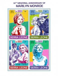 SIERRA LEONE - 2017 - Marilyn Monroe - Perf 4v Sheet - MNH