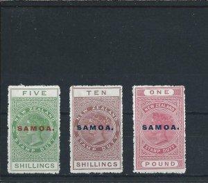 SAMOA 1914-24 PERF 14 5s/10s/£1 ALL FINE MM SG 124/126 CAT £159