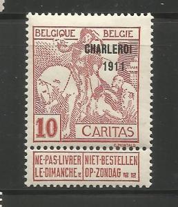 BELGIUM, B20, MINT HINGED, OVPTD 1911 ST. MARTIN OF TOURS DIVIDING HIS CLOAK