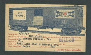 1937 Norfolk Va Illustrated Freight Car W/Lone Star Cement Ad On Delivery Of---