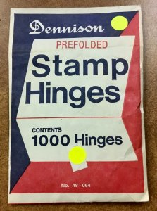 Vintage  Dennison 1 Pack of 1000 pre-folded Stamp Hinges  made in USA