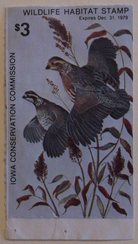 United States State Revenue Iowa Wildlife Habitat Hunting Stamp 1979 MNH