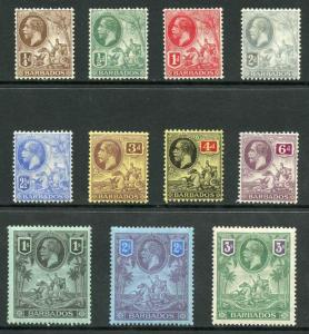 Barbados SG170/80 1912 Set wmk Mult Crown CA M/Mint