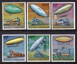 Comoro Islands 247-252 Zeppelins Trains MNH VF