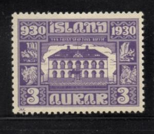 Iceland Sc 152 1930 3 aur 1000th Anniversary Althing stamp mint