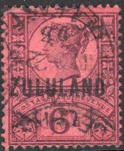 ZULULAND-1888-93 6d Purple/Rose-Red Sg 8 GOOD USED V50117