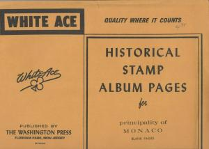 White Ace Blank Pages for Stamps of Monaco 5 Packages 50 Pages in All