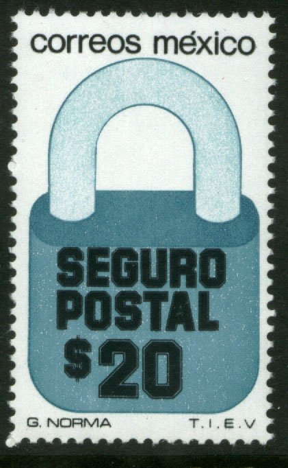 MEXICO G28A, $20P Padlock Insured Letter Unwmk Fluor Paper 6. MINT, NH. F-VF.