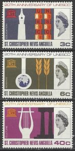 St. Christopher Nevis Anguilla  179-81  MNH  UNESCO 20th Anniversary