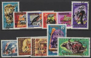 NIGERIA-BIAFRA SG4/16(Exc.SG11+12) 1968 OVERPRINT SET FINE USED