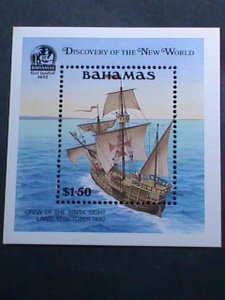 BAHAMAS- COLUMBUS DISCOVERY OF THE NEW WORLD MNH S/S VERY FINE