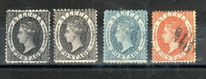 St Lucia 1d, 4d and 1s values between 1860 and 1876 MH and FU
