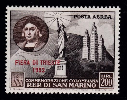 San Marino 1952 Columbus & Statue of Liberty Airmail Overprinted VF/Mint(*)