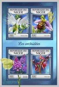 NIGER - 2017 - Orchids - Perf 4v Sheet - MNH