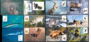 CHINA STAMPS, 2001, SET OF 11 MAXI CARDS MC MAXIMUM CARDS WILD ANIMALS