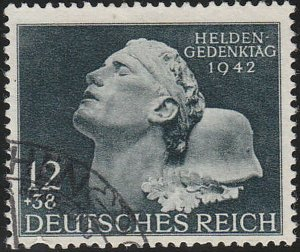 Stamp Germany Mi 812 Sc B202 1942 WWII 3rd Reich Memorial Hero Dead Fighter Used