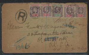 LEEWARD ISLANDS (P0404B) 1906 KE 1/2D+1D X 4 ST JOHNS ANTIGUA TO USA REGISTER