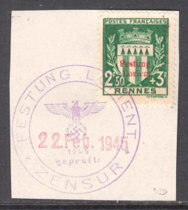 FRANCE B125 GERMANY OCC  FESTUNG LORIENT LOCAL OVERPRINT CDS VF SIGNED SOUND