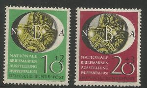 GERMANY  B318-B319  MINT HINGED, NATL. PHILATELIC EXPO., WUPPERTAL, 1951