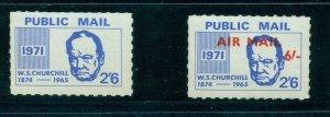 Cinderella - 1971 British Strike Mail set of 2 MNH Public Mail  - Kennedy