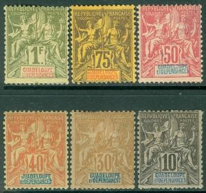 GUADELOUPE : 1892. Yvert #31//39. 6 different Mint with gum thins. Catalog €189.